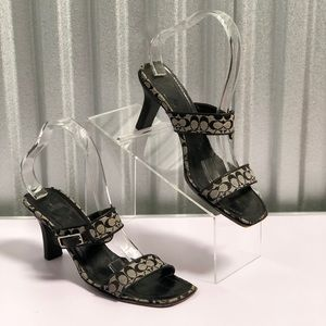 COACH Slip On Heels / Slides Gray and Black Logo